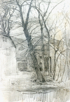 Mondriaan P.C. - A farm near Duivendrecht; detailed examination of a barn, pencil on paper 16,7 x 11,7 cm, painted circa 1905