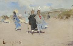 Kaemmerer A.F. - Elegant ladies at the Scheveningen beach, oil on board 15.5 x 24 cm, dated  'Scheveningen Mai '71'