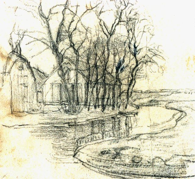 Mondriaan P.C. - A farm near Duivendrecht, detailed examination of the right side, black chalk on paper 13.6 x 15 cm, painted circa 1905