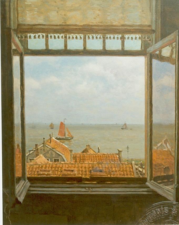 Tholen W.B. - View of the Zuiderzee from Hotel van Diepen, Volendam, oil on canvas 70 x 58,5 cm, l.r.