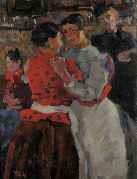 Israels I.L. - In the danshouse, Amsterdam, oil on canvas 97,5 x 74,5 cm, l.l. and painted ca. 1892-1897
