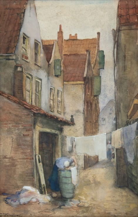 Breitner G.H. - Alley in Rotterdam with laundress, watercolour on paper 39,1 x 25,7 cm, l.l. and dated '80